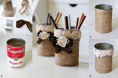 Burlap Tin Can Pencil Holder. (happyhappynester)