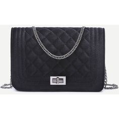 SheIn(sheinside) Black Velvet Quilted Mini Flap Chain Bag (66 BRL) ❤ liked on Polyvore featuring bags, handbags, shoulder bags, black, chain shoulder bag, chain purse, velvet handbag, mini purse and flap shoulder bag