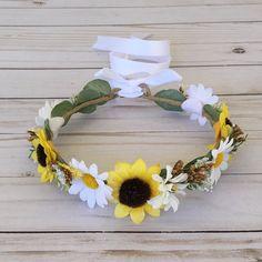 Sunflower Daisy Flower Girl Flower Crown Spring by FlowerHungry