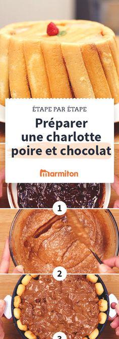 Réussissez une délicieuse charlotte poire chocolat en suivant les étapes photo de cette recette. #marmiton #chocolat #poire #recette #cuisine #charlotte