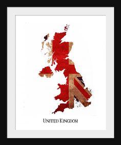 United Kingdon England Flag Map Print Poster Map by JustPrints