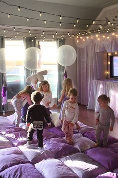 Purple ombre pillow quilt from a Popcorn & Pajamas Purple Movie Night via Kara's Party Ideas | KarasPartyIdeas.com (35)