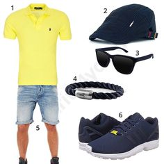 Blau-Gelbes Outfit für Herren (m0376) #outfit #style #fashion #menswear #mensfashion #inspiration #shirt #cloth #clothing #männermode #herrenmode #shirt #mode #styling #sneaker #menstyle