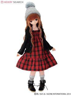 [Close] Komorebimori no Oyofukuyasan [PNS Ribbon Ruched Dress] (Red Plaid) (Fashion Doll) Item picture1