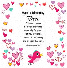Birthday Cards For Niece Free Happy Poems Blessings