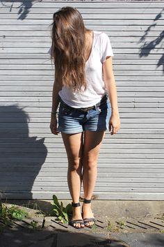 Zara tee - Zara belt - H shorts - Maje sandals