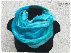 Filzschals - OktoberWelle - gefilztes Schal aus Wolle und Seide - ein Designerstück von AlisaBordo bei DaWanda