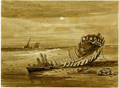Coast scene with wreck in foreground; rotten timber boat lying in foreground with sea to l and in distance, sailing vessel on choppy water Pen and brown ink with brown wash