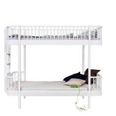 Oliver Furniture, Wood køjeseng - hvid m. stige i gavl