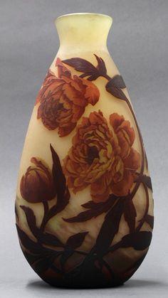 Muller Freres cameo glass peony vase, circa 1925