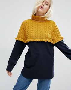 STYLENANDA OVERSIZED JUMPER WITH COLOUR BLOCK AND FRILL DETAIL #style #fashion #trend #onlineshop #shoptagr