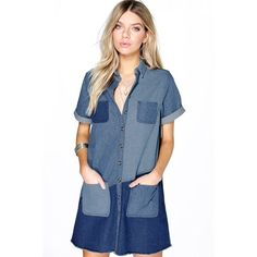 Boohoo Blue Molly Patchwork Oversize Shirt Dress ($40) ❤ liked on Polyvore featuring dresses, blue, blue camisole, evening dresses, blue cocktail dress, day to night dresses and long sleeve shirt dress