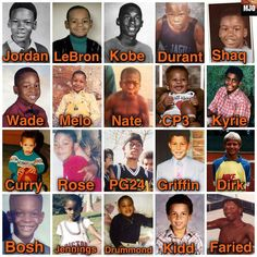 NBA Players When They Were Young: Michael Jordan, LeBron James, Kobe Bryant, Durant, Shaquille O'Neal, Wade, Carmelo Anthony, Stephen Curry, Griffin, Bosh and More.