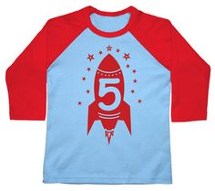 Fifth Birthday shirt kids toddler Happy 5th Party Red Rocket American Apparel Raglan 3/4 Sleeve tshirt 2nd, 3rd, 4th, 5th