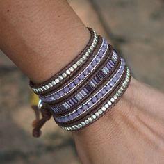Purple mix beaded Wrap bracelet Bohemian bracelet Beadwork