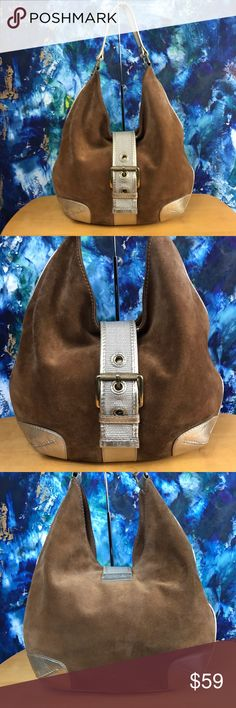 """Michael Kors Brown Suede Hobo Bag MICHAEL Michael Kors Brown Suede Leather Hobo Bag 👜   -Brown Suede -Metallic Gold Leather Trim -Goldtone Hardware  -Magnetic Snap Flap Closure with Buckle Embellishment -Interior Zip Pocket -4 Interior Multifunctional Pockets  -Interior Keychain Key Holder  15"""" Long 14"""" Tall 3"""" Wide 10"""" Handle Drop   🌟Preloved🌟 Scuffs and Marks on Exterior and ink stains on the interior Lining. MICHAEL Michael Kors Bags Hobos"""