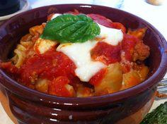 Orecchiette al forno/ Orecchiette pasta cooked in the howen with mozzarella cheese, tomato and basilico.