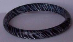 Stripe Black White Animal Print Leopard Bangle Bracelet