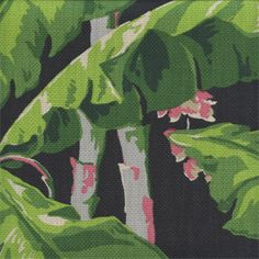 Banana Grove Midnight is a gorgeous slubby basket weave drapery fabric. The banana trees are beautiful with pink and tan blossoms, large green leaves and gray trunks, all placed exquisitely on a black background. Banana Grove is perfect for drapes, decorative pillows, bedding, shams, and headboards, yet it is sturdy enough for some upholstery applications as well. It will be a welcome piece in any decor in your home or office.v002APEF