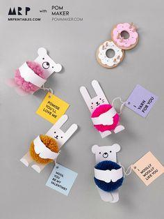 Hug a pompom! Animal Valentine's Cards with Pom-poms - Mr Printables X Pom Maker