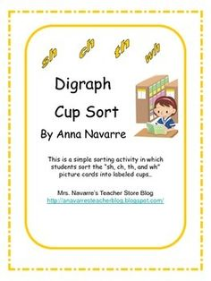 Digraph Cup Sort makes a good center activity. Students are able to use these picture cards for repetitive practice.