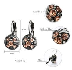 Fashion Ethnic Antique Silver Vintage Carved Pink Rhinestone Brincos Clip On The Earrings For Women Statement Jewelry Gift