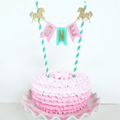 First Birthday Cake Topper / Carousel Theme First by PopOfSparkle