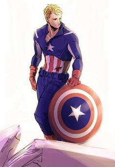 Captain America takes a post-battle moment to strike a pose, there's nothing to it.