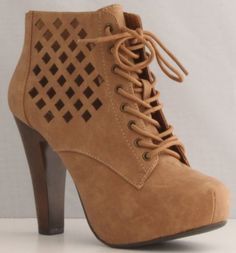 "Qupid Puffin-62 Camel High Heel Boot Nubuck Lace up Platform Bootie - Perforated High Heel Camel Bootie [Price: $] - Synthetic Material: Nubuck(man-made) Measurement (approx.): Heel 4.25"" Platform 1.25"" Shaft(w/heel) 8"" Opening Circumference 10 Product Features  Synthetic does-not-contain-animal-products"
