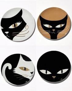 Kitty cat dessert plates from France