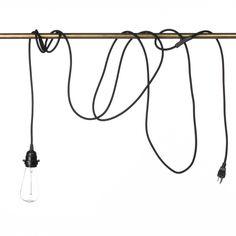 Pendant Light Cord (grounded plug) - Black