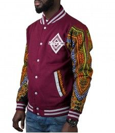 Limited Edition Afrination Burgandy Dashiki Varsity Jacket African Inspired Fashion, African Print Fashion, Africa Fashion, African Fashion Dresses, Fashion Prints, African Attire For Men, African Wear, African Dress, Mode Wax