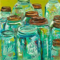 Mason Jar Art Mason Jar Art, Mason Jar Kitchen, Ball Mason Jars, Bottles And Jars, Glass Jars, Turquoise Kitchen, Vintage Jars, Wine Bottle Crafts, Canning Jars