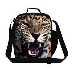 Trendy Animal Leopard 3D Print Lunch Bag For Children Food Thermal Bag Small Lunchbox For Men Boys Lancheira Picnic Snacks Bag