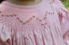 Baby Girls Smocked Pink Easter Bishop Dress with Ribbons Smocking Baby, Smocking Plates, Smocked Baby Clothes, Smocked Dresses, Baby Dress, Pink Dress, Smocks, Ribbon Embroidery, Embroidery Stitches