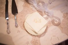 Elegant, monogrammed napkins at the dessert table. Photo by Jess Barfield Photography. #wedding #monogram