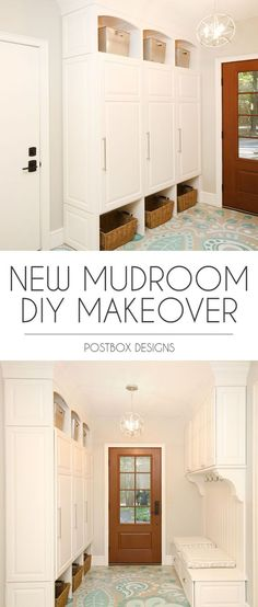 Postbox Designs E-Design: Mudroom Makeover Reveal with DIY Painted Floors, Mudroom Lockers and Command Center