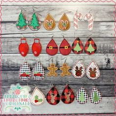2124 Christmas Earring SET Earrings In-The-Hoop Design - Applique & Embroidery Originals Diy Leather Earrings, Diy Earrings, Leather Jewelry, Leather Craft, Lace Jewelry, Indian Jewelry, Small Gold Hoop Earrings, Small Gold Hoops, Amber Earrings