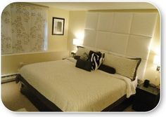 Pin It White faux leather upholstery fabric on x Heady Bed panels for king bed in sleek bedroom. Custom headboard measures wide by high Custom Headboard, Tall Headboard, Upholstered Headboards, Leather Upholstery Fabric, Cama Queen, Cama Box, New Beds, Panel Bed, Contemporary Bedroom