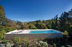 Stewart House by Chenchow Little Architects - The raised pool in a bush garden evokes a Palm Springs setting. Swimming Pool Landscaping, Luxury Swimming Pools, Swimming Pool Designs, Raised Pools, Garden Pool, Bush Garden, Pool Fence, Little Architects, Little Pool