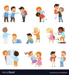 Kids bullying the weaks set, boys and girls mocking classmates, bad behavior, conflict between children, mockery and bullying at school vector Illustration Emotions Preschool, Body Preschool, Caricature, Bullying Posters, Pc Hp, Business Cartoons, Retro Robot, Retro Background, Kids Class
