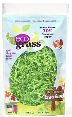 "Eco Grass- Made in the USA, both paper and corn-based ""plastic"" versions"