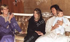 May 23, 1997: Diana, Princess of Wales with Imran Khan and his wife, Jemima in Lahore, Pakistan.