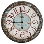Large Rusty Turquoise Round Metal Wall Clock