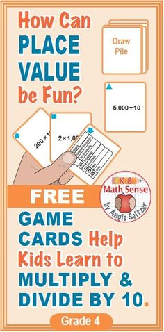 This set of 36 printable math cards will help kids in Grade 4 understand multiplying and dividing by 10. Students will match equivalent expressions during fun, familiar games. Just print the cards on four sheets of paper, cut, and play! This resource has been featured in TpT's newsletter. ~by Angie Seltzer