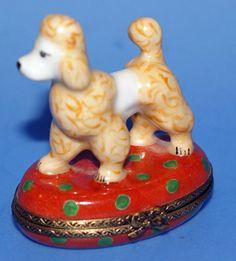 Limoges French Porcelain Trinket Box Peint Main Poodle Dog