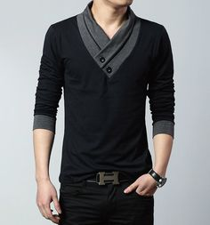Big size cotton t shirt Spring/autumn fashion mens T-shirt homme men's long sleeved V-neck patchwork color casual T-shirts Fashion Night, Look Fashion, Mens Fashion, Asian Fashion, Fashion Styles, Street Fashion, Geek Chic Fashion, Fashion Black, Fashion 2017
