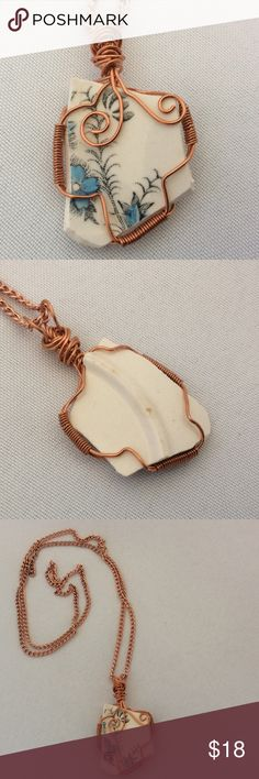"HOST PICK China Shard Pendant This beautiful piece of China has been captured in copper wire. I have attached a 26"" chain, however you can change that to anything you'd like such as a ribbon, cord or whatever. Becky Barnes Designs Jewelry Necklaces"