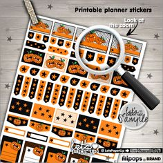 Printable Stickers Halloween Stickers Planner Stickers Kawaii Stickers Cute Stickers Planner Accessories Printable Planner Stamps (1.50 USD) by LetsPaperUp