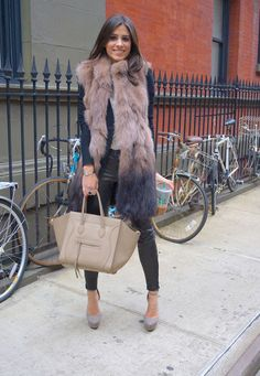 Winter chic in ombré vest & Céline Phantom bag #StreetStyle